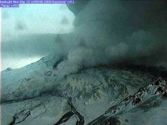 Webcam image from March 23, 2009 19:55:58, Alaska Volcano Observatory