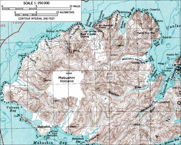 Volcano Topographic Map.Avo Image 665 Makushin Wide Bay Cone Table Top Mtn