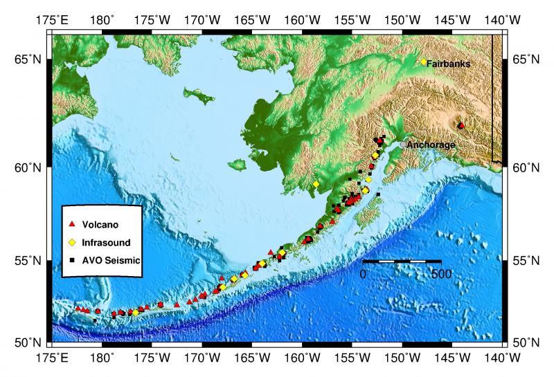 Alaska Map Volcano.Alaska Volcano Observatory About Avo Infrasound Monitoring Of